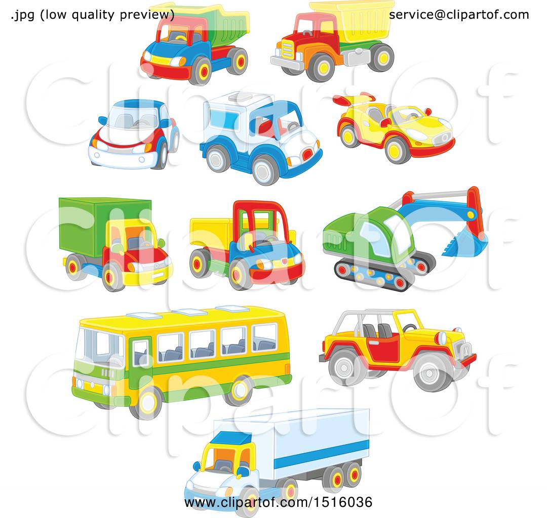 toy cars and trucks. Clipart Of Colorful Toy Cars And Trucks - Royalty Free Vector Illustration By Alex Bannykh