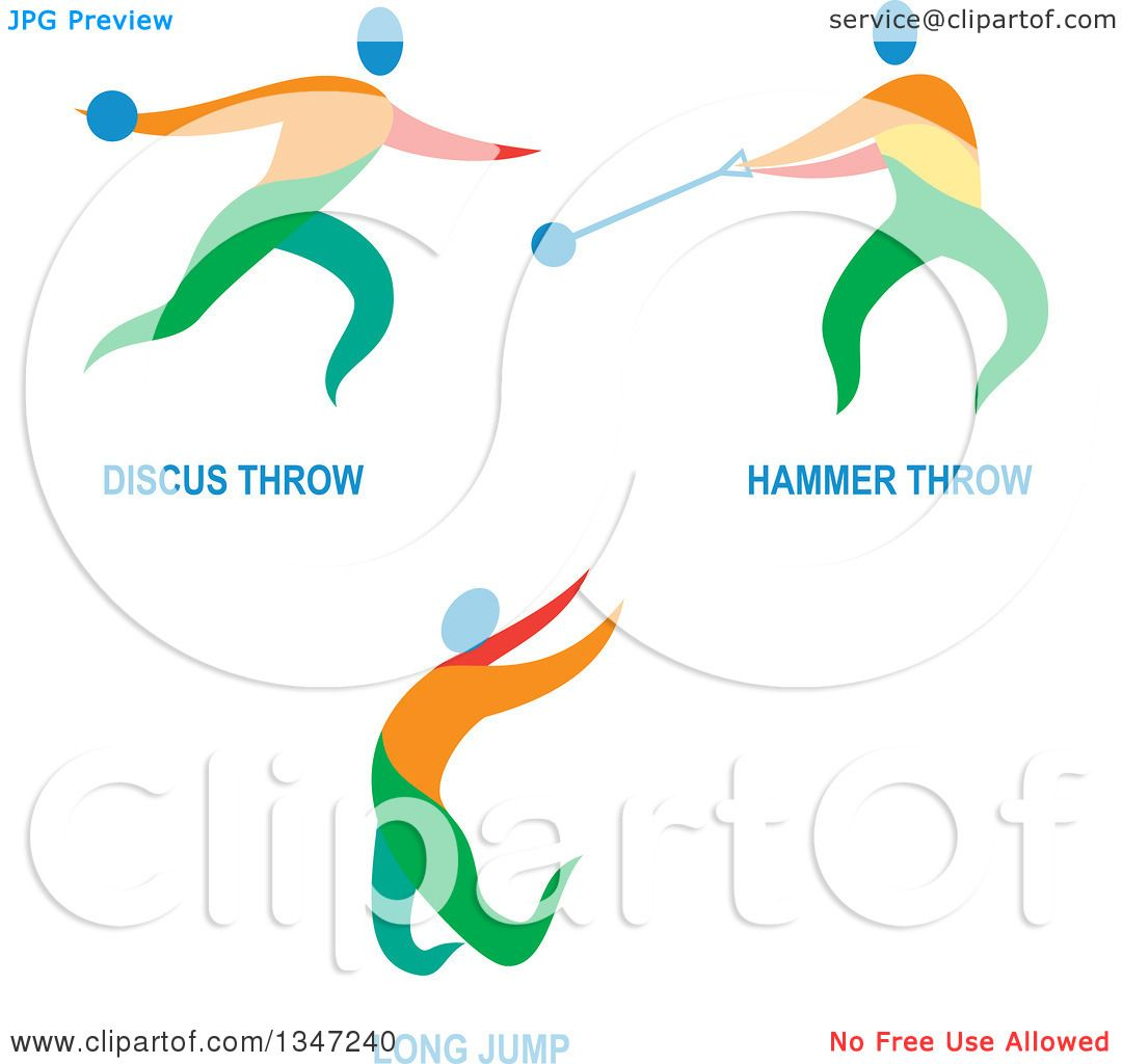 Clipart of Colorful Track and Field Discus Throw, Hammer Throw and ...