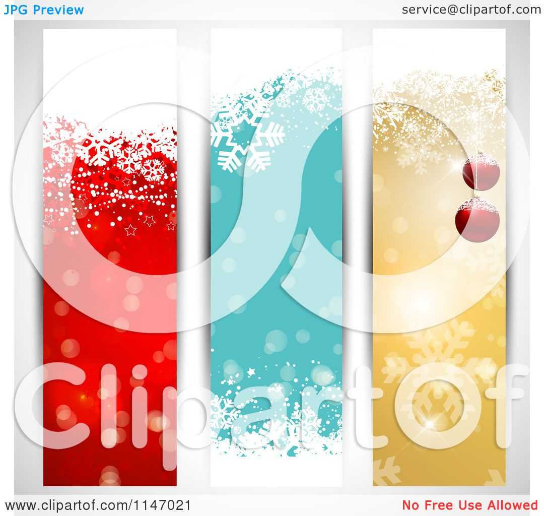 Clipart of Colorful Vertical Christmas Website Banners - Royalty ...