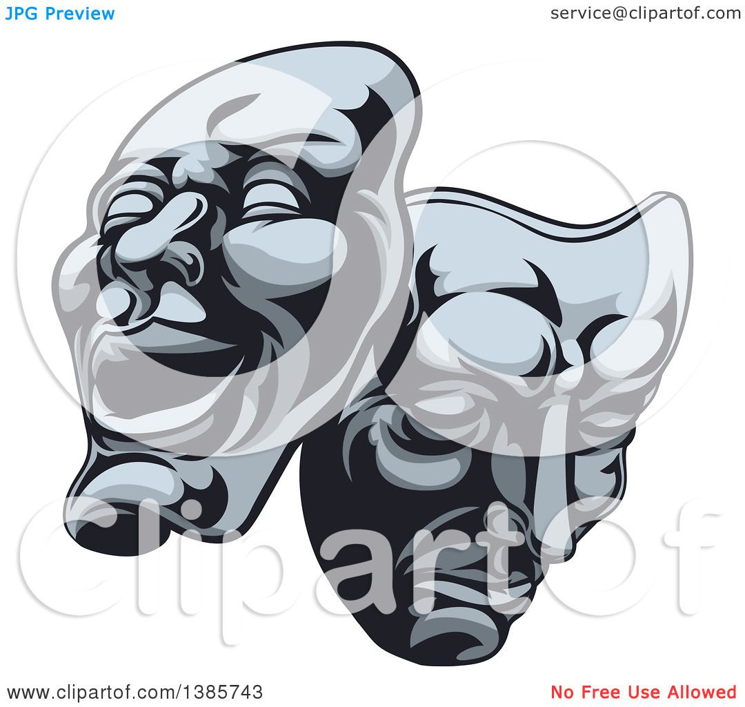 Clipart of Comedy and Tragedy Theater Masks - Royalty Free Vector ...
