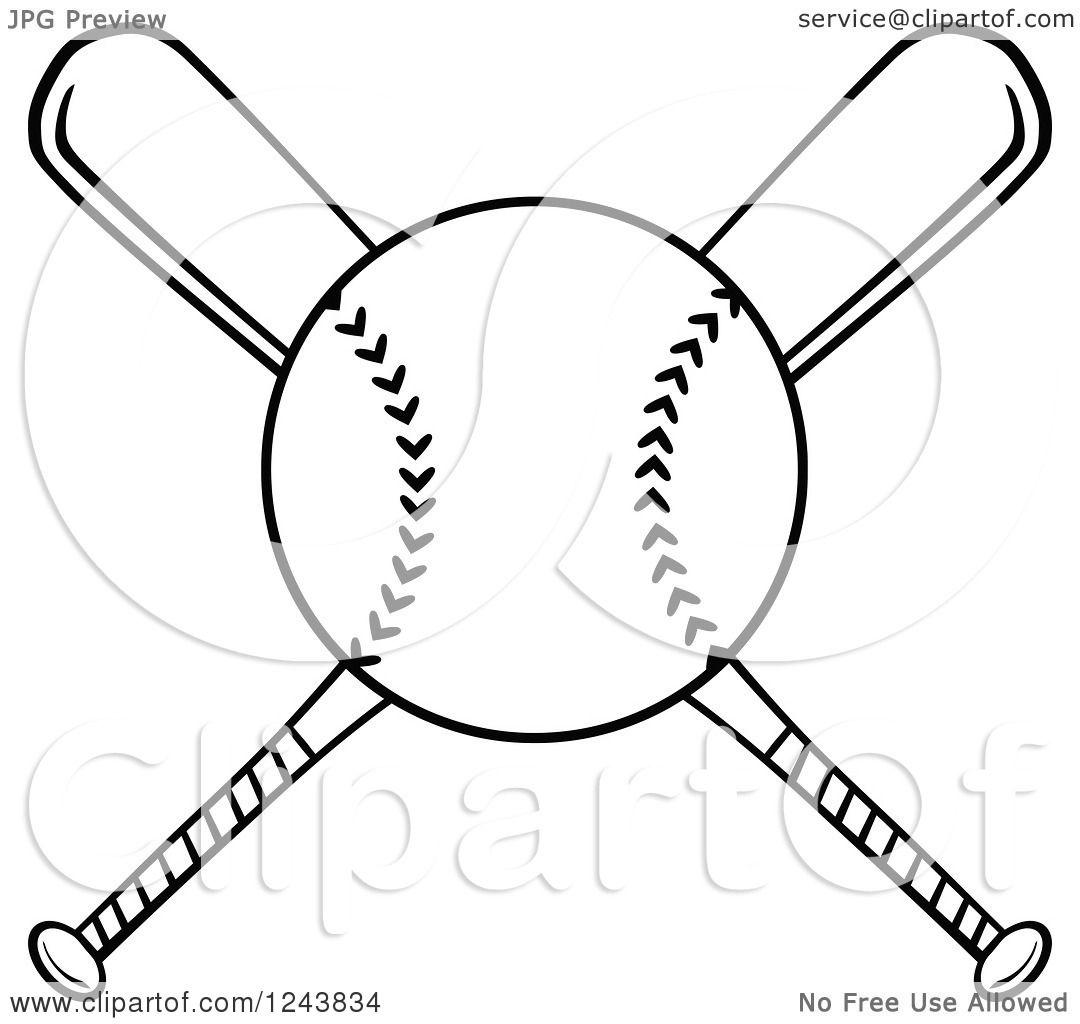 clipart of crossed black and white baseball bats and a Baseball Bats Crossed with Ball Real Crossed Baseball Bats