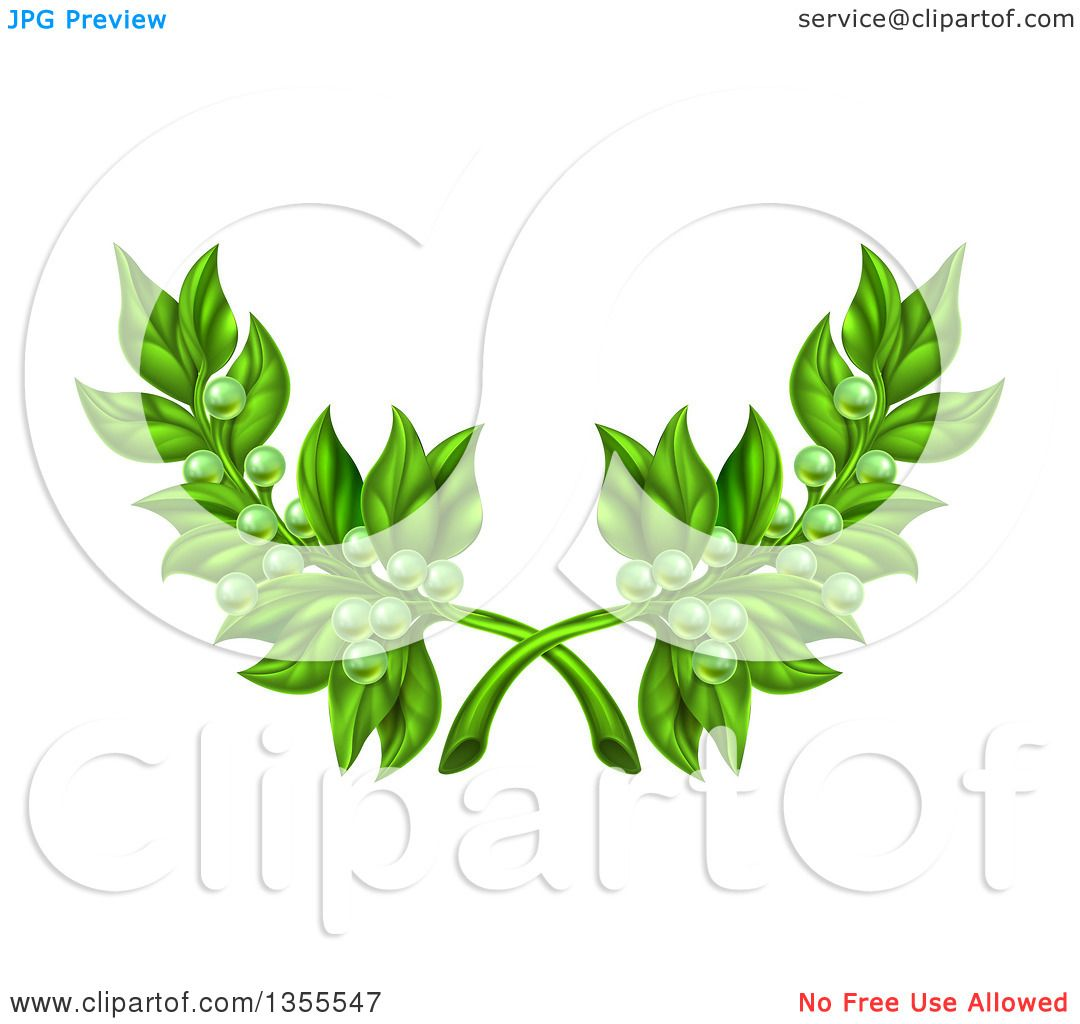 Clipart of Crossed Green Peace Olive Branches with Tiny Fruits ...