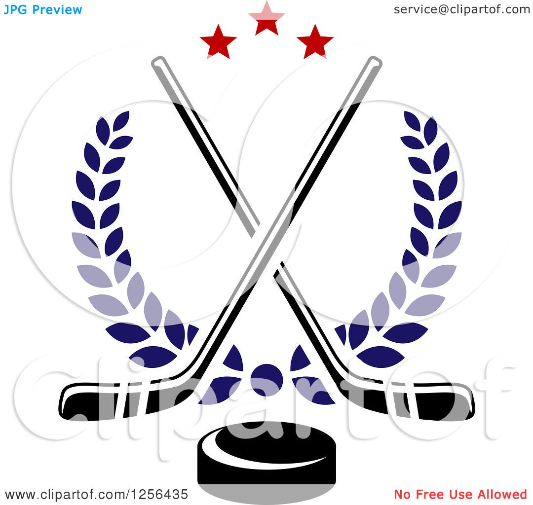 Clipart of Crossed Ice Hockey Sticks and a Puck with Stars and ...