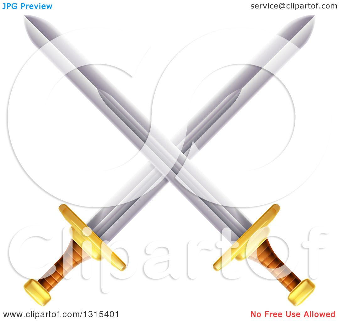 Clipart of Crossed Swords with Gold and Brown Handles ...