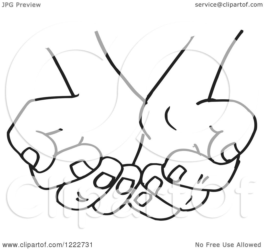 Clipart of Cupped Black and White Hands - Royalty Free ...