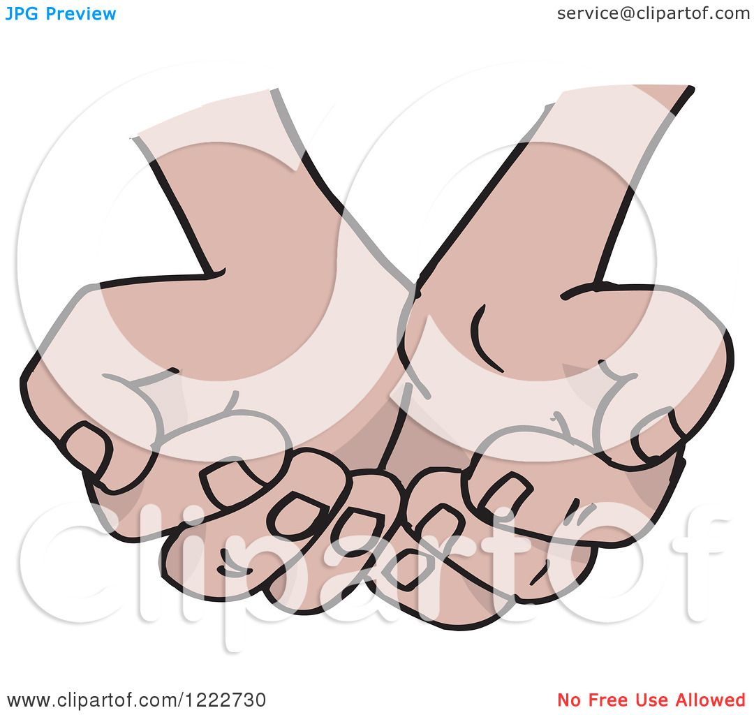 Clipart of Cupped Hands - Royalty Free Vector Illustration ...