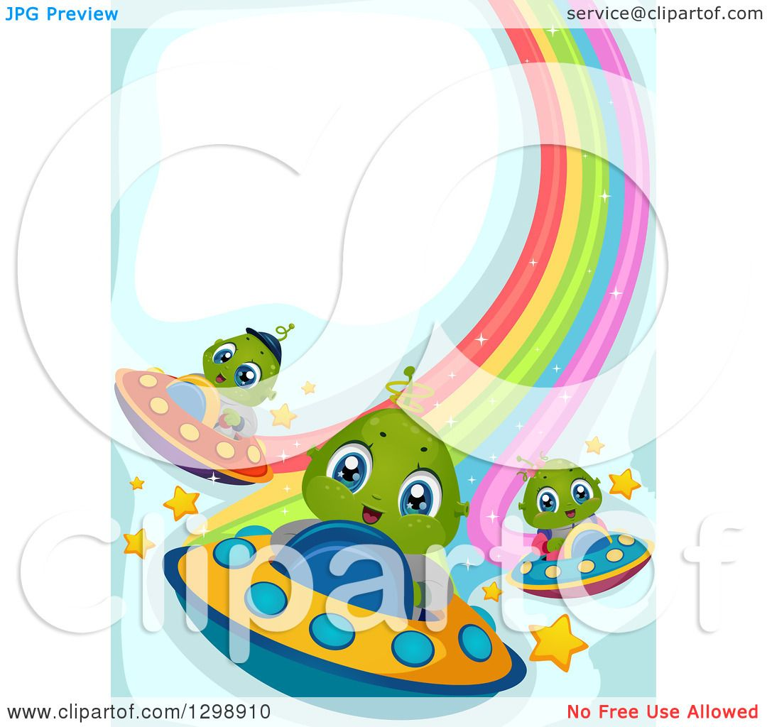 Clipart of Cute Alien Kids Flying UFOs and Leaving Rainbow Trails