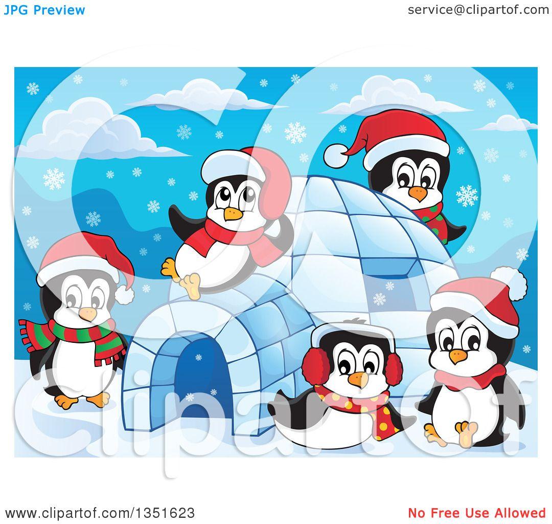 Clipart of Cute Christmas Penguins Wearing Santa Hats and