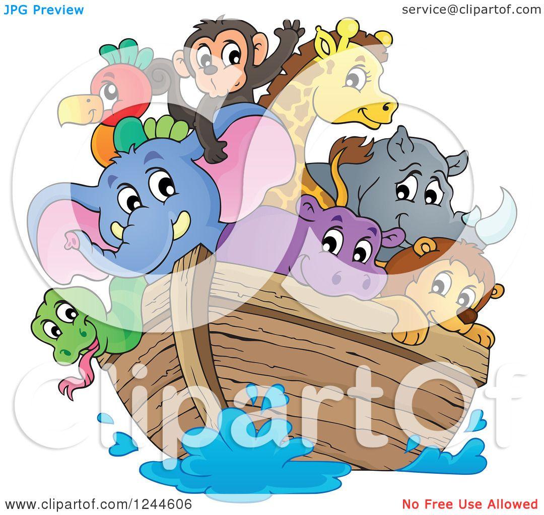 Clipart Of Cute Happy Animals On Noahs Ark