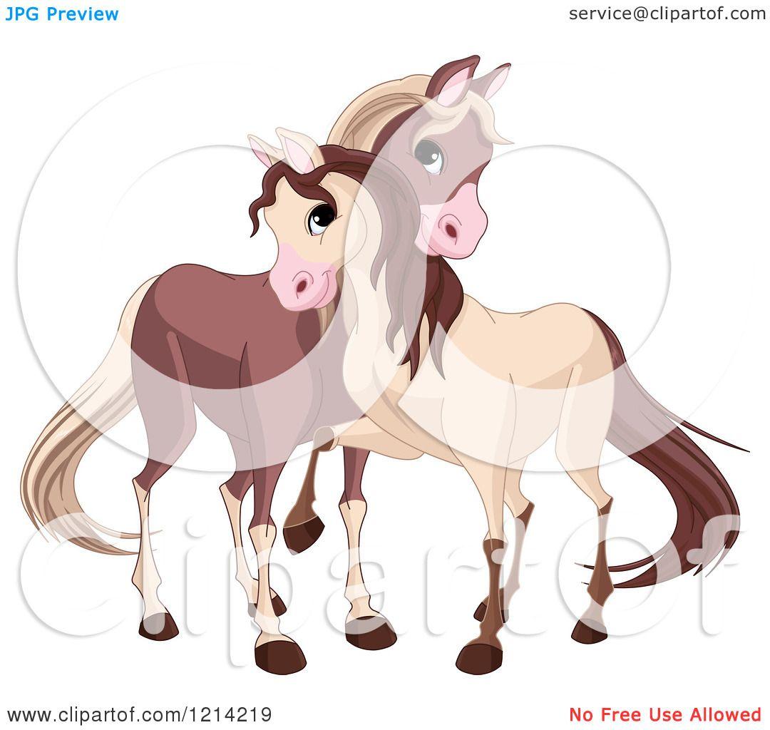Clipart of Cute Horses Cuddling