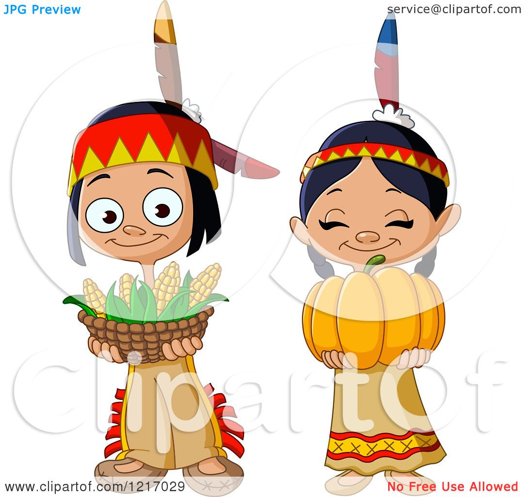 Clipart of Cute Thanksgiving Native American Indian ...