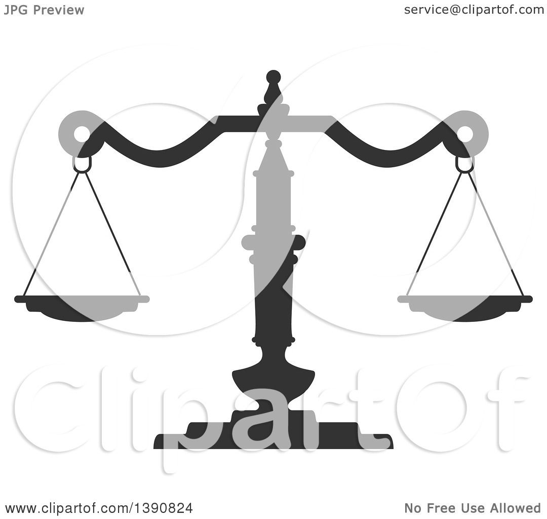 Clipart of Dark Gray Scales of Justice - Royalty Free Vector ...