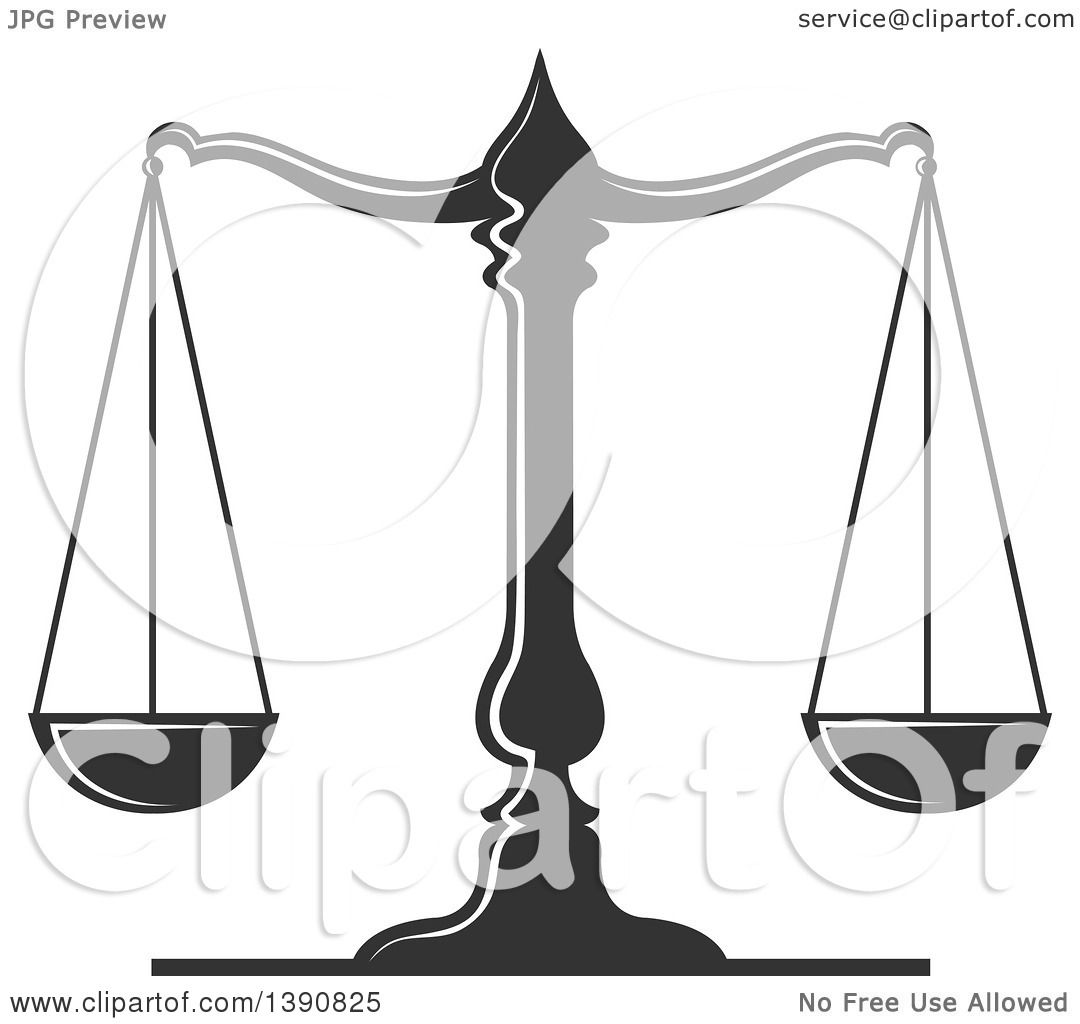 Clipart of Dark Gray Scales of Justice - Royalty Free Vector