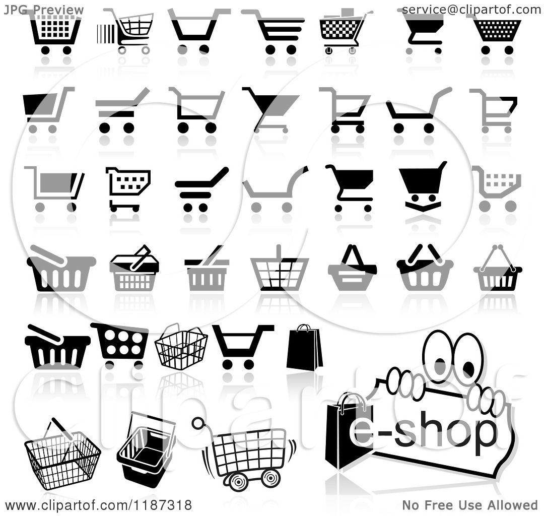 Clipart of Different Styled Black and White Shopping Cart Website ...