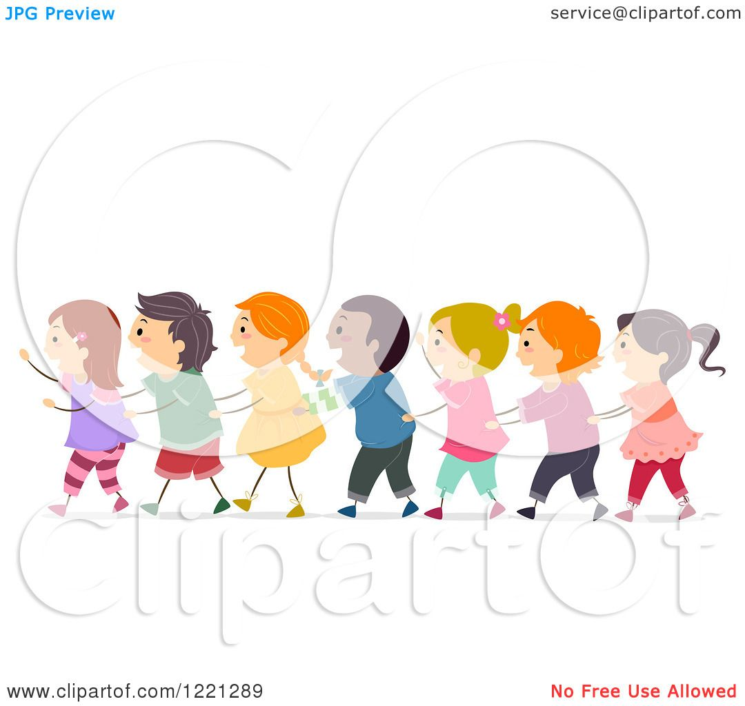 Clipart of Diverse Children in a Conga Line - Royalty Free ...