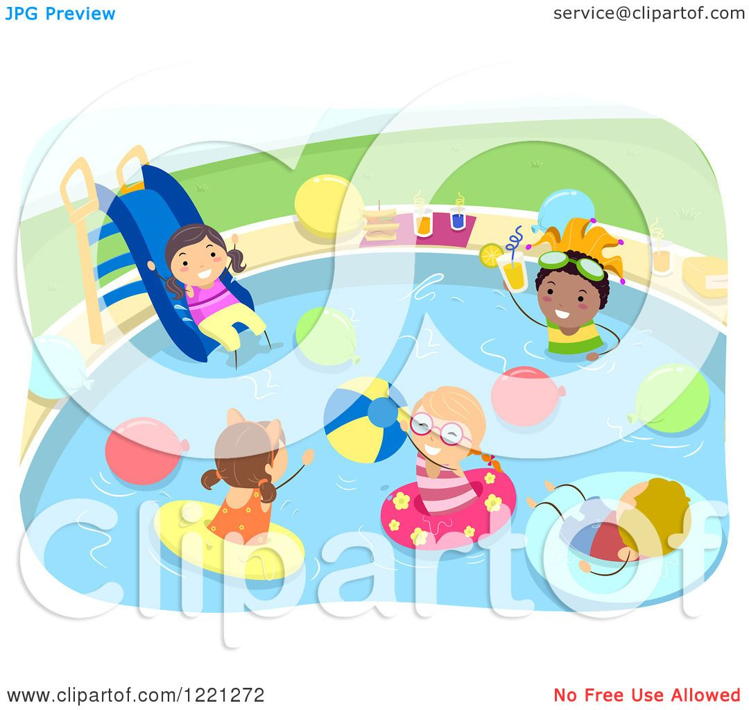 Clipart of diverse kids at a pool party royalty free vector illustration by bnp design studio for Free clipart swimming pool party
