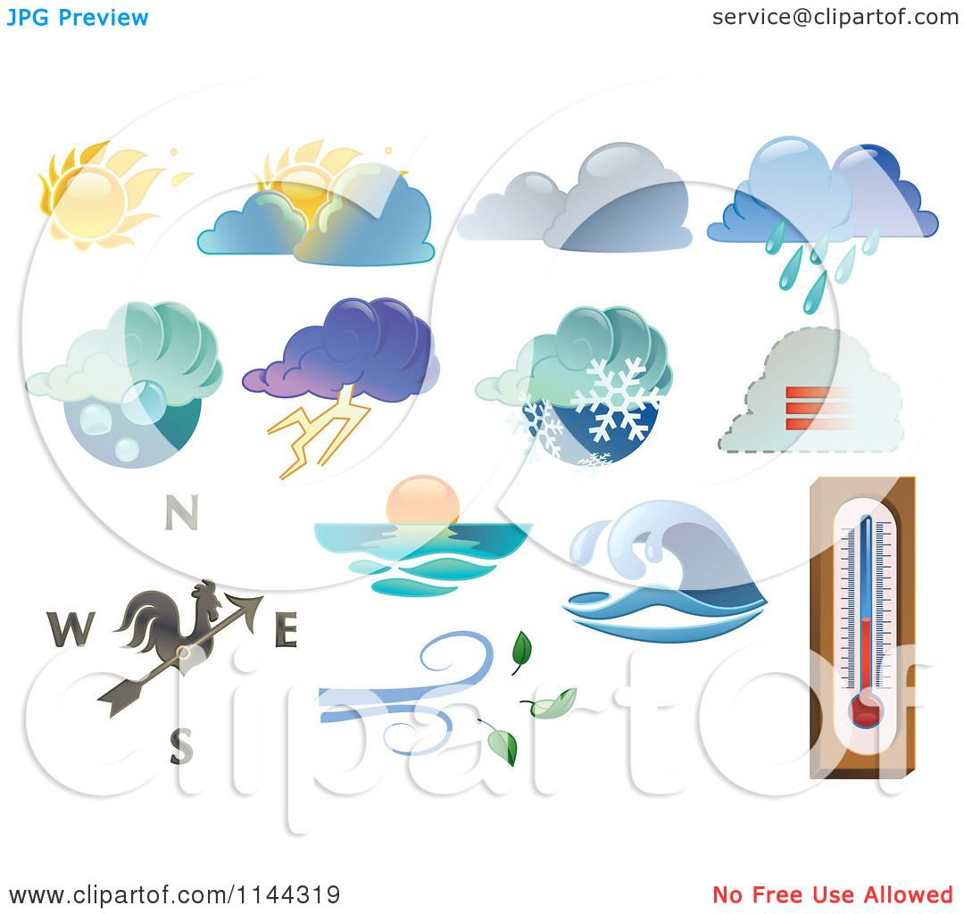 clipart of extreme weather icons royalty free vector