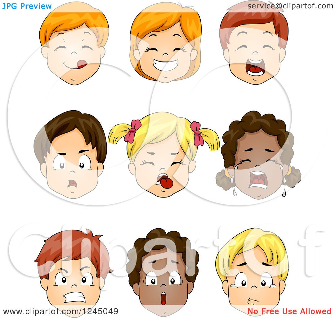 Clipart of Faces of Caucasian and African American Children ...
