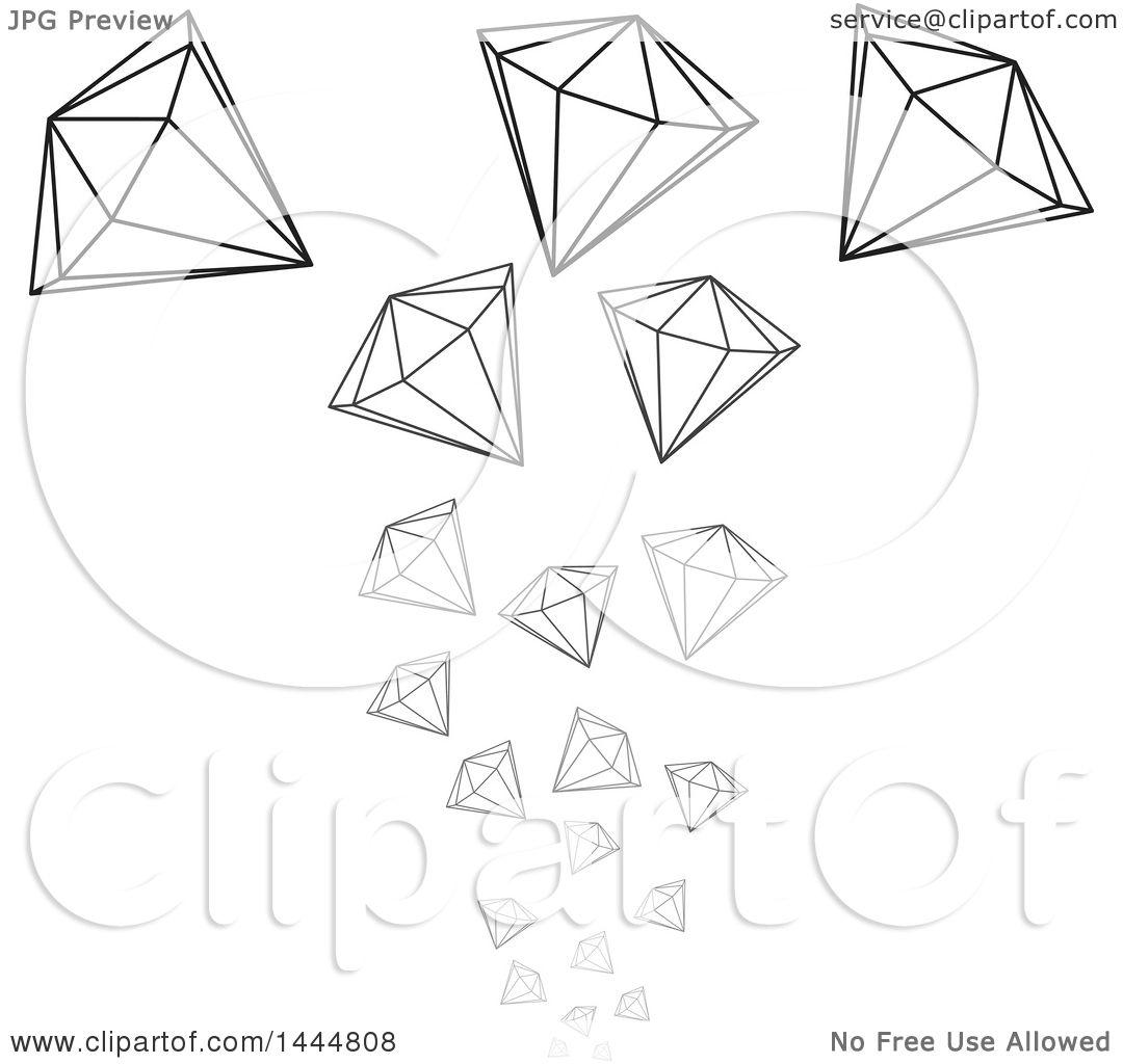 clipart of falling grayscale diamonds royalty free vector rh clipartof com diamond clipart images black diamond clipart