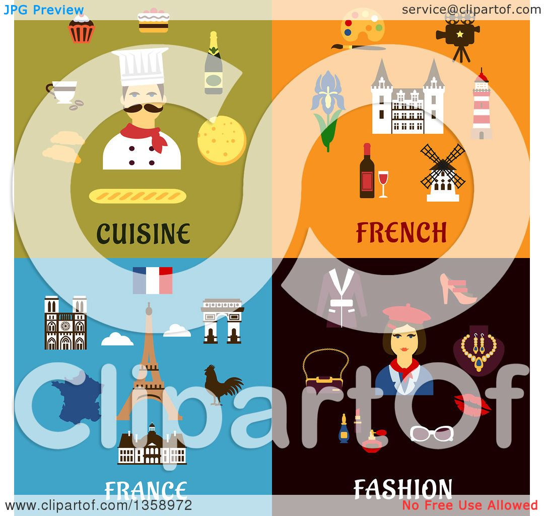 Clipart Of Flat Cuisine French And Fashion Designs