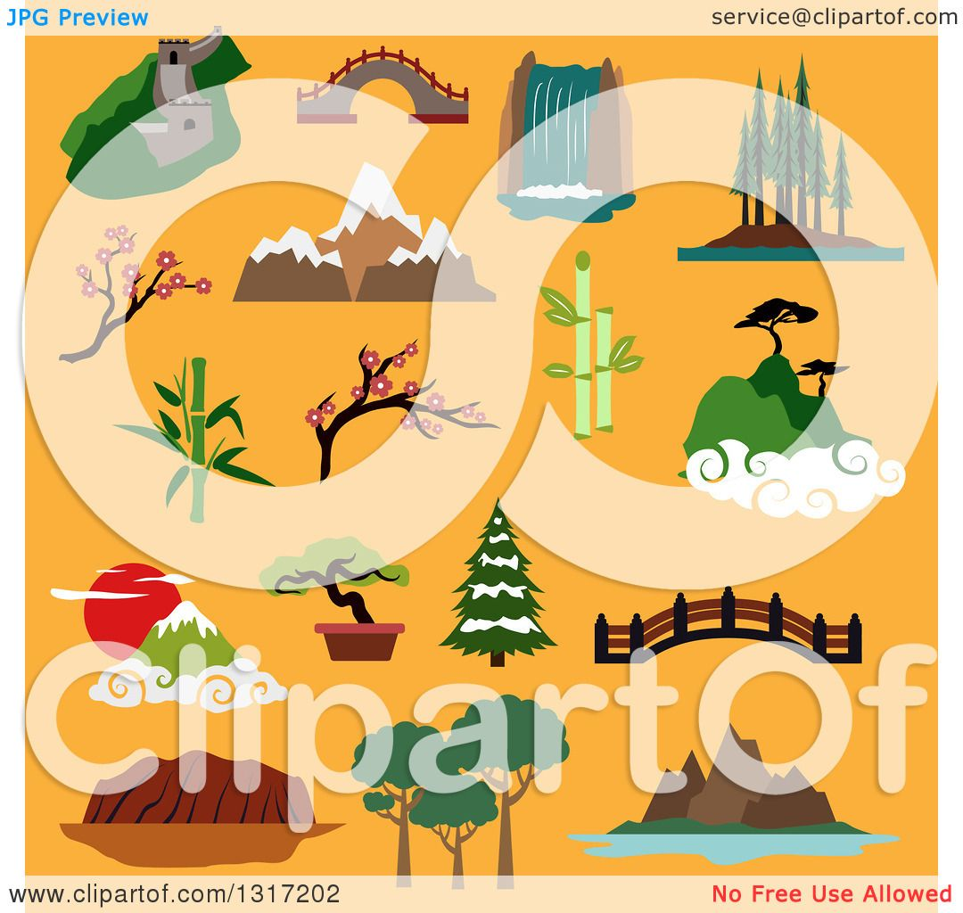 Clipart of Flat Design Famous Landscapes and Buildings of China ...