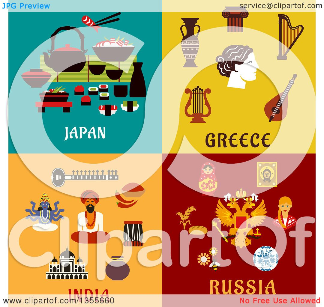Clipart of Flat Design Japan, Greece, India and Russia Culture Items ...