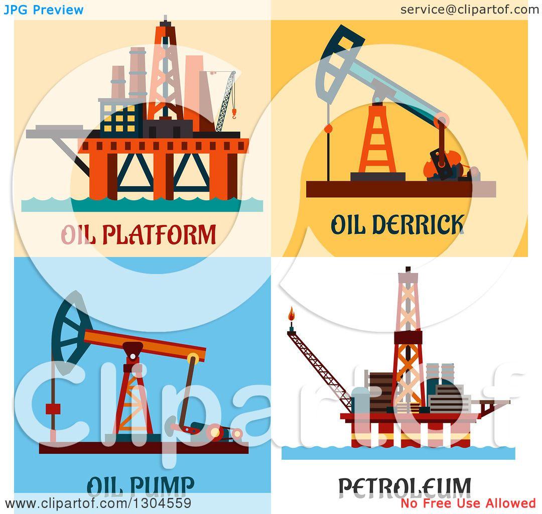 Clipart of Flat Modern Oil Platform, Derrick, Pump and ...
