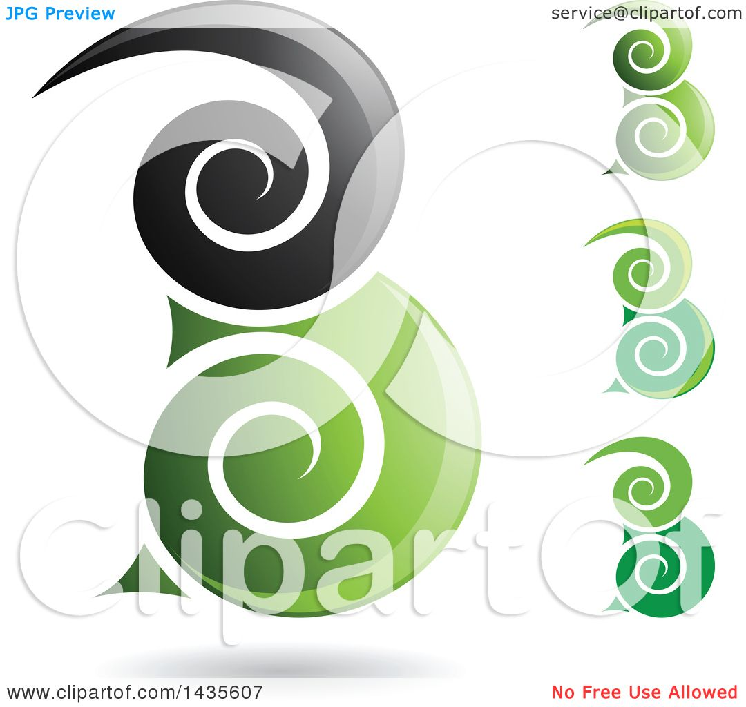 clipart of floating abstract swirly capital letter b designs with shadows royalty free vector illustration by cidepix