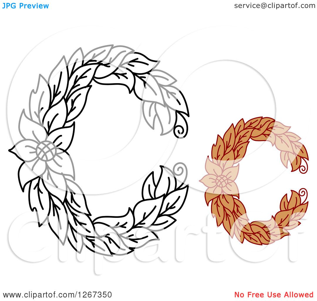 Clipart Of Floral Capital Letter C Designs With A Flower
