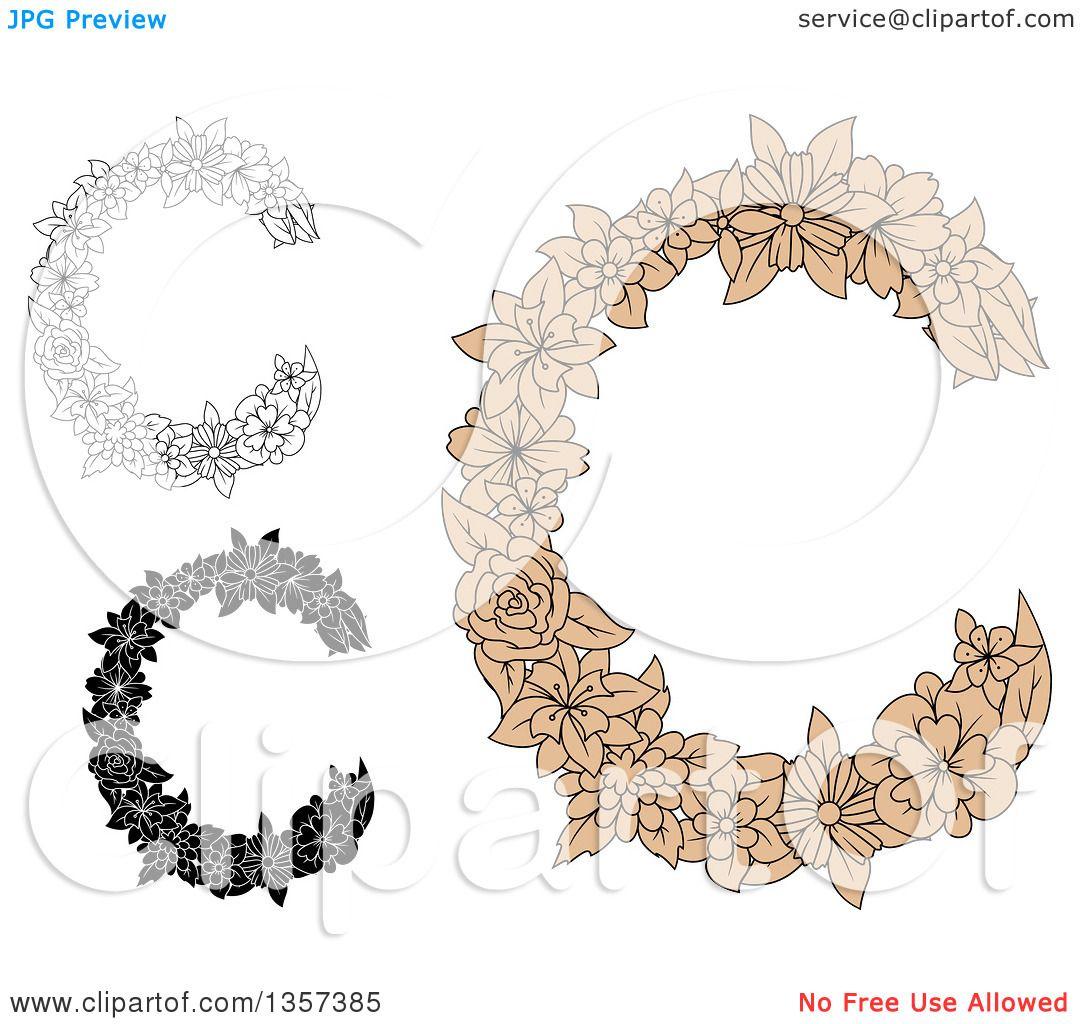 Clipart Of Floral Letter C Designs