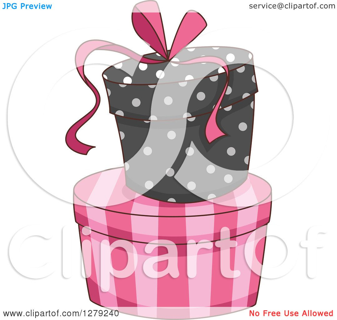 Clipart Of French Themed Striped And Polka Dot Gift Or Hat
