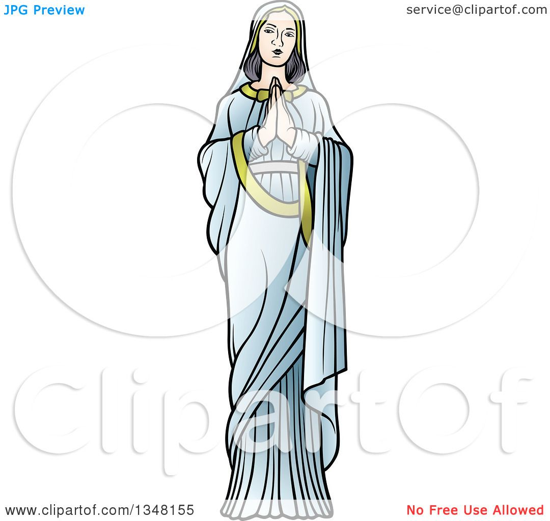 Clipart Of Full Length Virgin Mary In Blue Praying