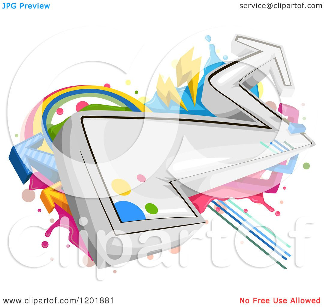 Clipart Of Funky Arrow Graffiti Royalty Free Vector