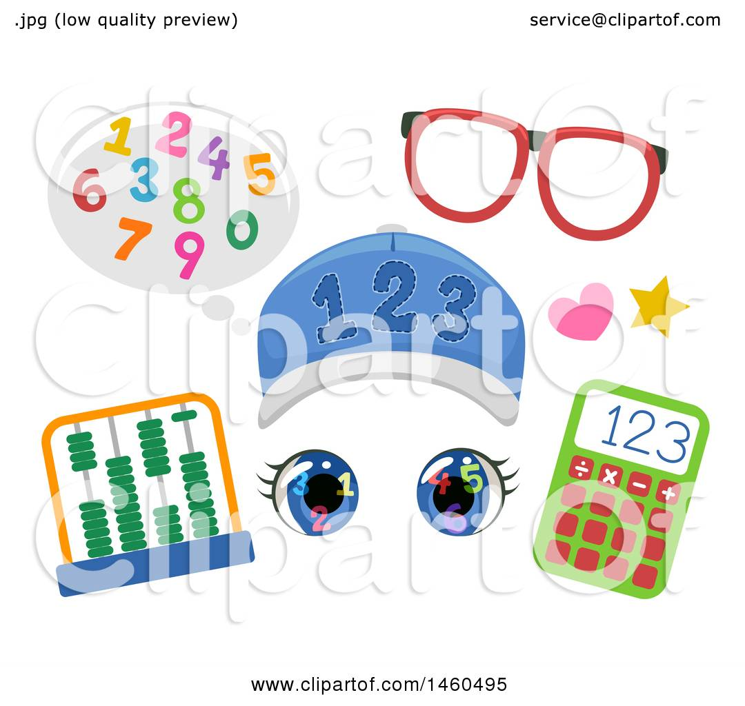 Clipart of Funny Face Math Student Elements Consisting of Numbers ...