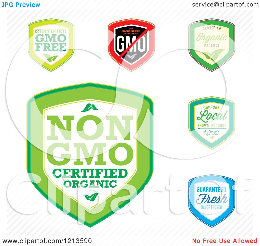Clipart Of Gmo Free Genetically Modified Labels
