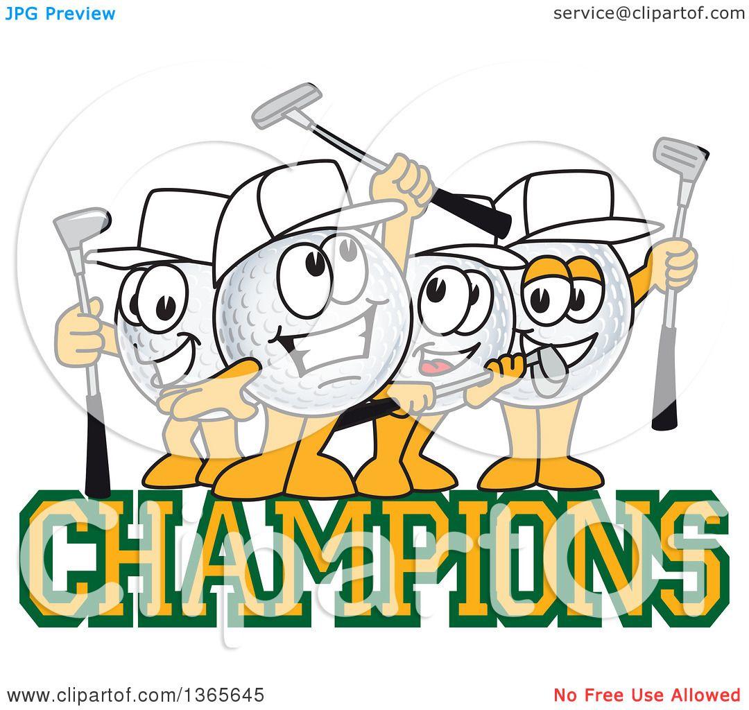 Clipart Of Golf Ball Sports Mascot Character Champions