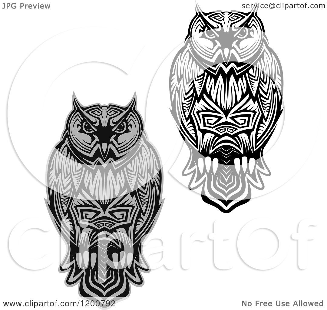 Clipart of Grayscale and Black and White Tribal Owls