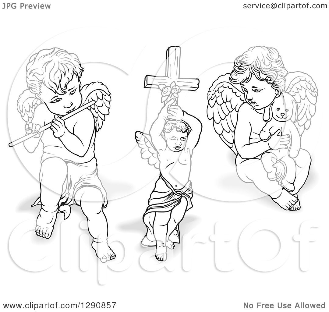 clipart of grayscale angels with shadows  playing a flute  holding a cross and a stuffed animal