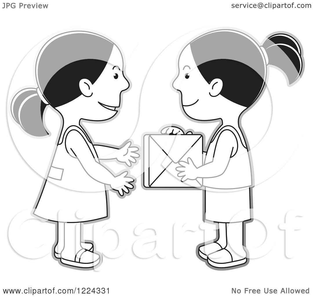 Clipart of Grayscale Girls Exchanging a Gift Box - Royalty ...