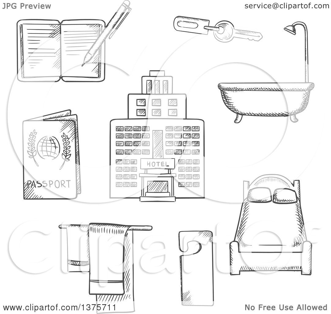 Bathroom Key Sign clipart of grayscale sketched hotel service icons as bed, room key