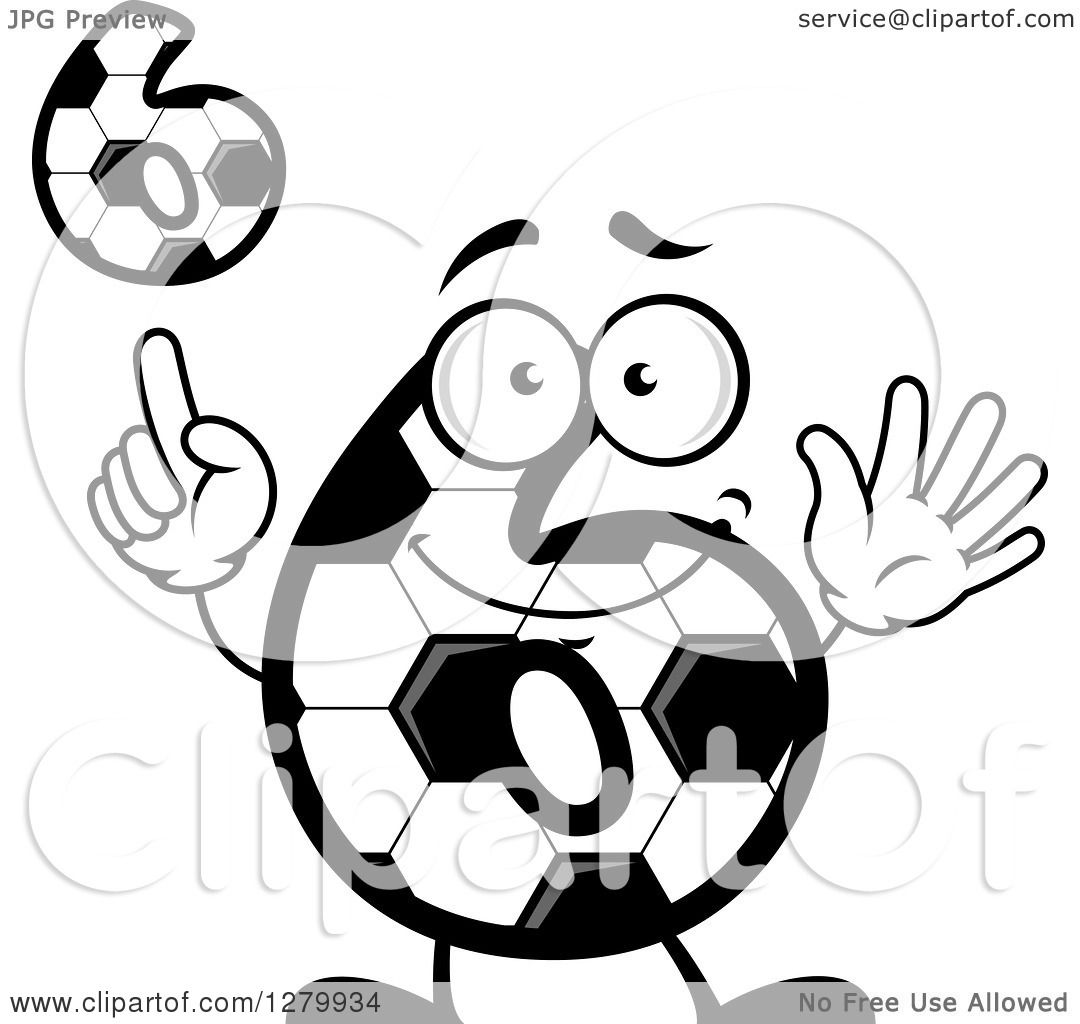 Clipart of Grayscale Soccer Ball Number Six Designs ...