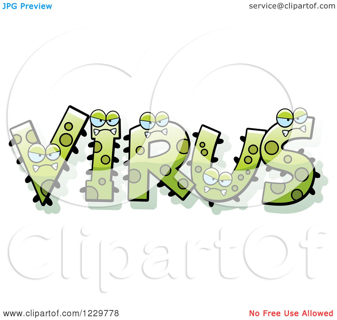 Viral Word: Clipart Of Green Monsters Forming The Word Virus