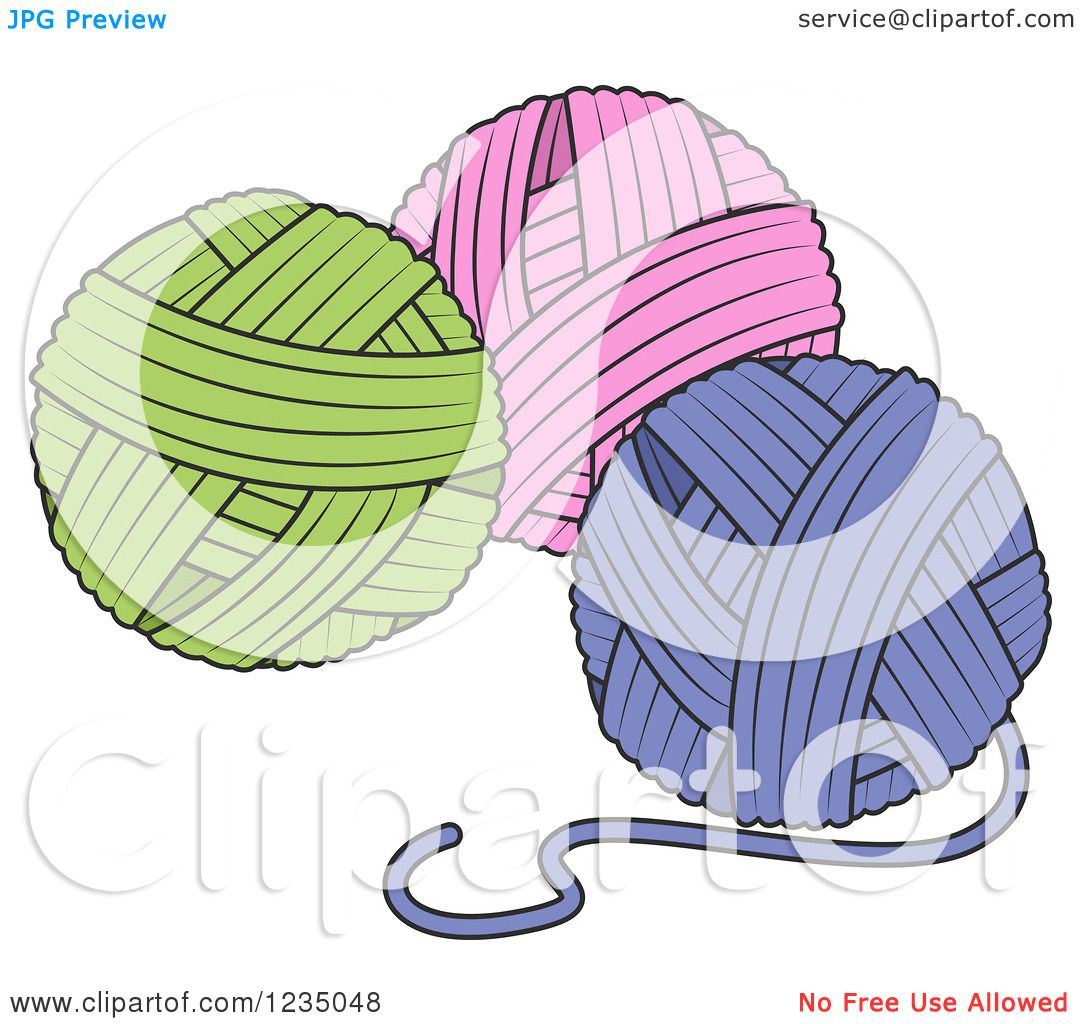 Person Knitting Clipart : Clipart of green pink and purple knitting yarn balls