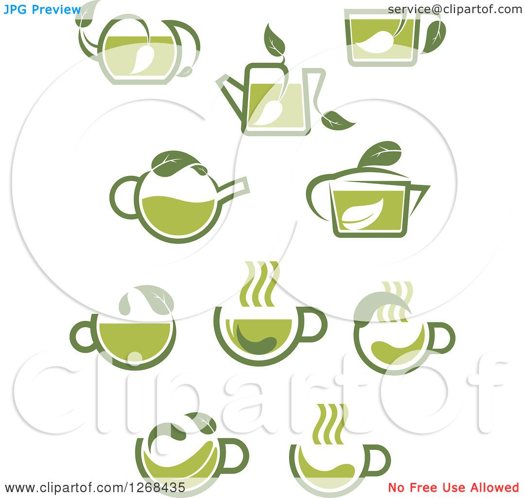 Clipart Of Green Tea Cup And Pot Designs Royalty Free