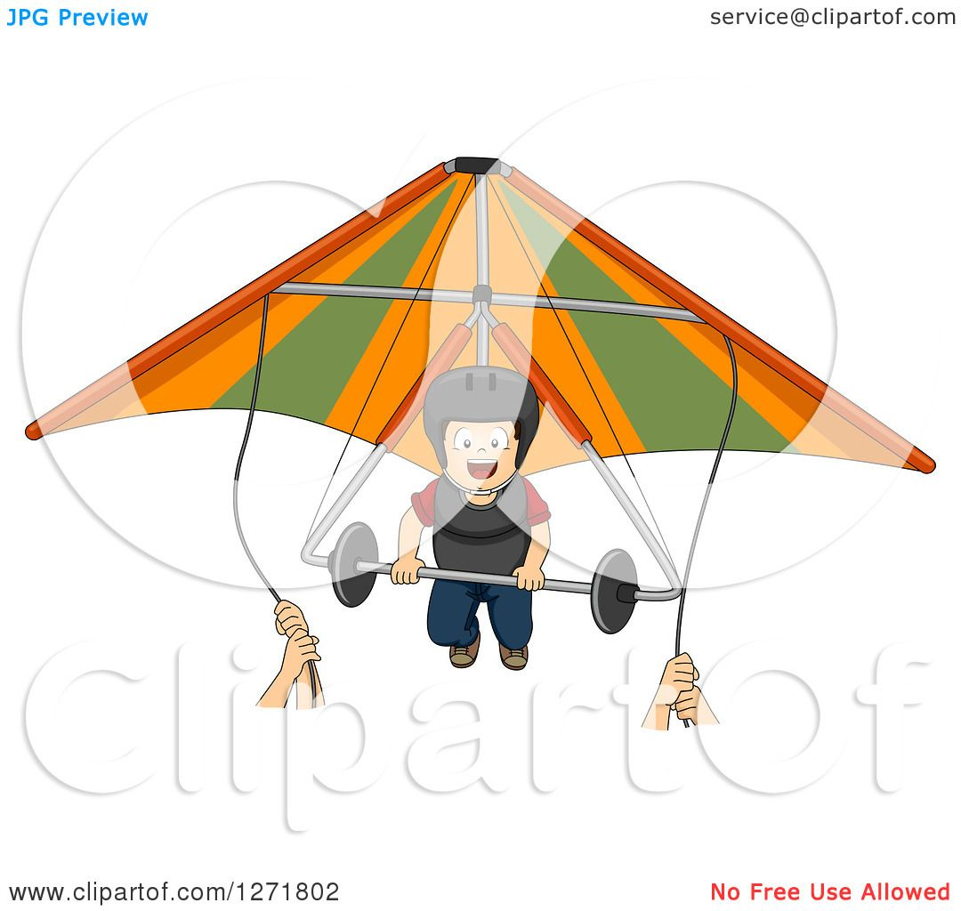 Clipart of Hands Guiding a Brunette Caucasian Boy on a Hang