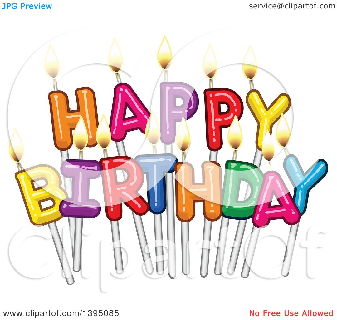Clipart Of Happy Birthday Candle Letters On Sticks