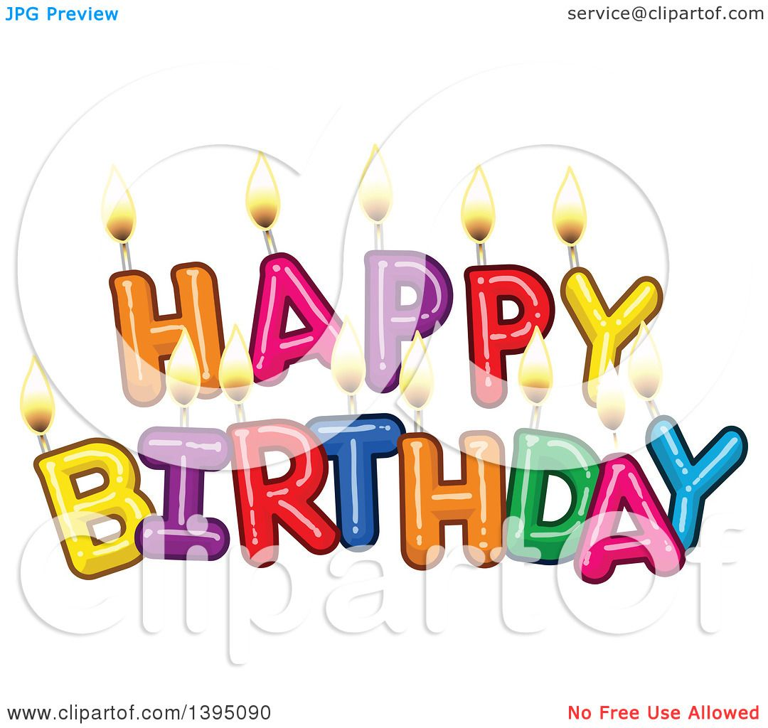 Clipart Of Happy Birthday Candle Letters