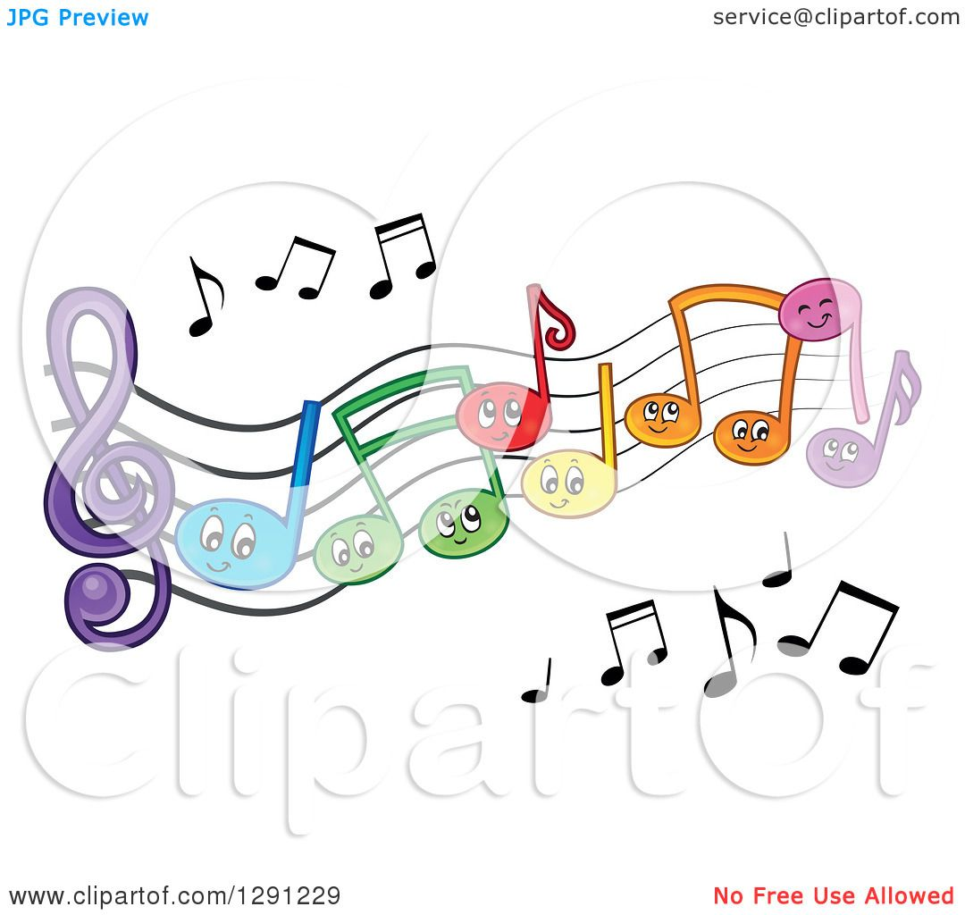 Clipart of Happy Cartoon Colorful Music Note Characters on ...