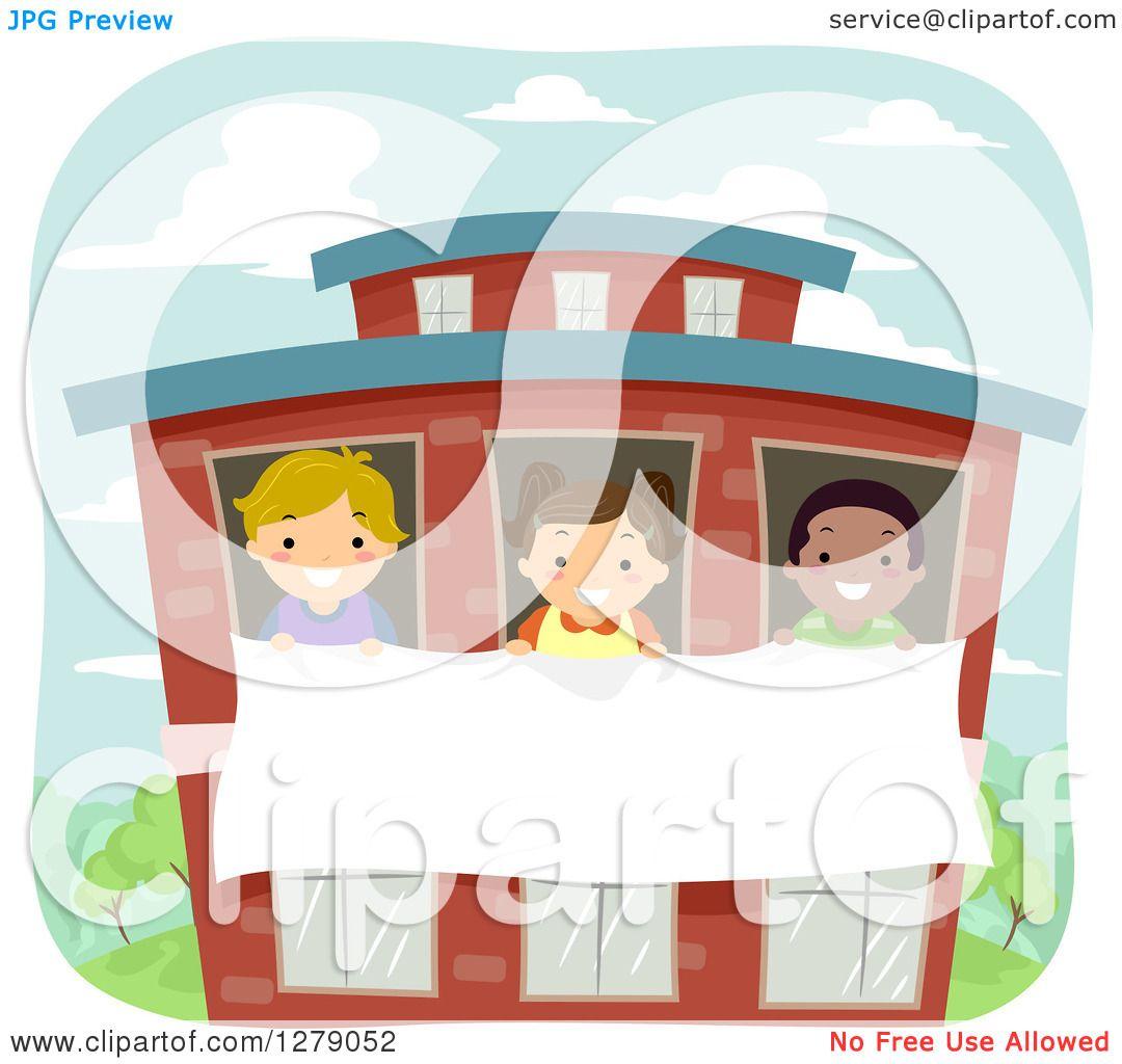 School Window Clipart clipart of happy children holding a banner through school windows