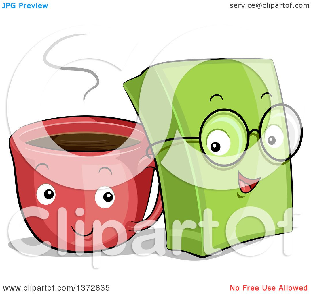Clipart Of Happy Coffee Cup And Book Characters